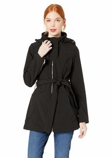 Steve Madden Women's Softshell Fashion Jacket Hooded with Piping Trim Black L