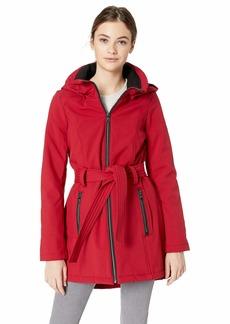 Steve Madden Women's Softshell Fashion Jacket Knit Hood red L