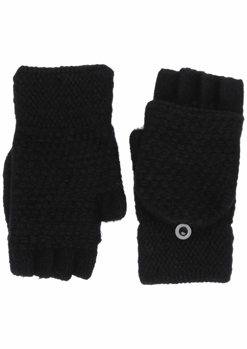 Steve Madden Women's Solid Fingerless Button Mitten black
