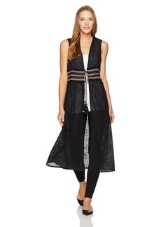 Steve Madden Women's Solid Tie Front Duster Vest W Trim Waist black