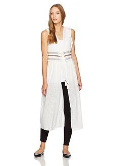 Steve Madden Women's Solid Tie Front Duster Vest W Trim Waist white