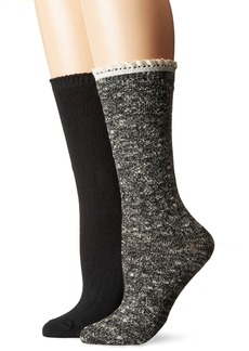 Steve Madden Women's Speckle Ruffle Cuff Boot Sock 2 Pack