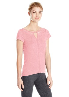 Steve Madden Women's Strappy Cut Out Short Sleeve Burnout Tee  M