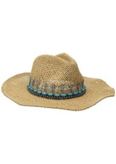 Steve Madden Women's Straw Panama Multi Colored Beaded Hat