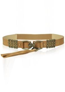 Steve Madden Women's Stretch Belt with Metal Detail and Tassel  Medium/Large