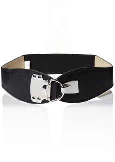 Steve Madden Women's Stretch Belt with Metal Plate Detail and Hook Hardware  Medium/Large