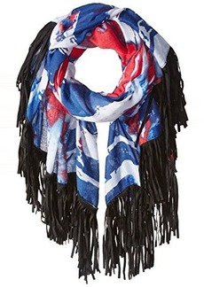 Steve Madden Women's Tattered Flag Print Scarf with Fringe