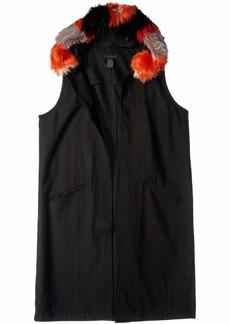 Steve Madden Women's Texttured Woven Long Midi Vest with Faux Fur Hood black M/L