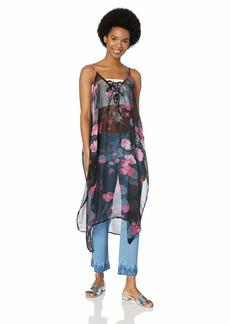 Steve Madden Women's Tie Front Floral Poncho black