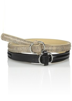 Steve Madden Women's Two For One Belt with Top Stitch Detail and Semi Wrapped Buckle