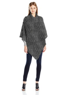 Steve Madden Women's Waffle Knit Turtleneck Poncho with Buttons black