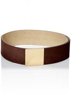 Steve Madden Women's Wide Suede Belt with Rectangle Plaque