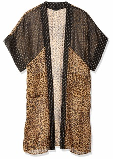 Steve Madden Women's Wild Side Duster Kimono with Pockets tan ONE SIZE