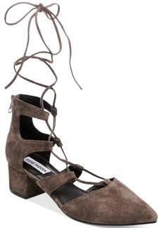 Steve Madden Women's Wishez Lace-Up Block-Heel Pumps Women's Shoes