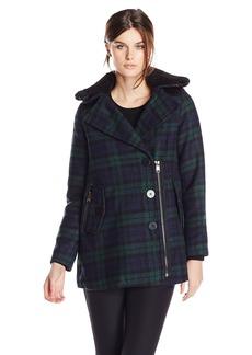 Steve Madden Women's Wool Blend Zip and Button Coat with Sherpa Collar Navy/Green