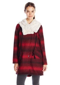 Steve Madden Women's Wool Plaid Blanket Coat with Hood
