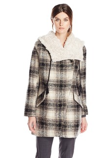 Steve Madden Women's Wool Plaid Blanket Coat with Hood Black/Cream