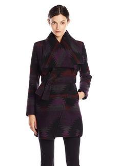 Steve Madden Women's Wool Wrap Coat Purple Aztec