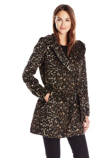Steve Madden Women's Wool Wrap Coat with Faux Leather Trim Brown Leopard