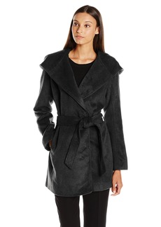 Steve Madden Women's Wool Wrap Coat with Faux Leather Trim