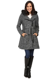 Steve Madden Wool Blend Asymmetrical Zip Hooded Coat