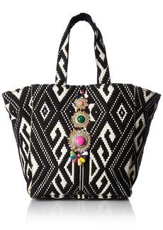 Steve Madden Zena Tribal Geometric Multi Colored Bohemian Fabric Tote Shoulder Beach Handbag black