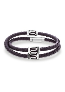 Steve Madden Swirl Braided Leather Wrap Bracelet