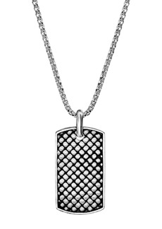 Steve Madden Textured Mesh Design Dogtag Pendant Box Chain Necklace
