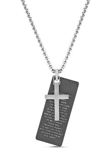 Steve Madden Two-Tone Cross and Prayer Rolo Chain Necklace