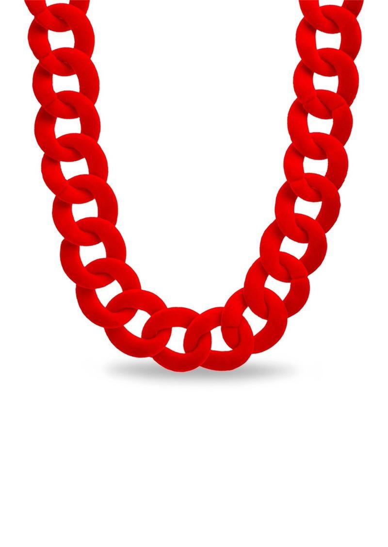 Steve Madden Velvet Curb Chain Collar Necklace
