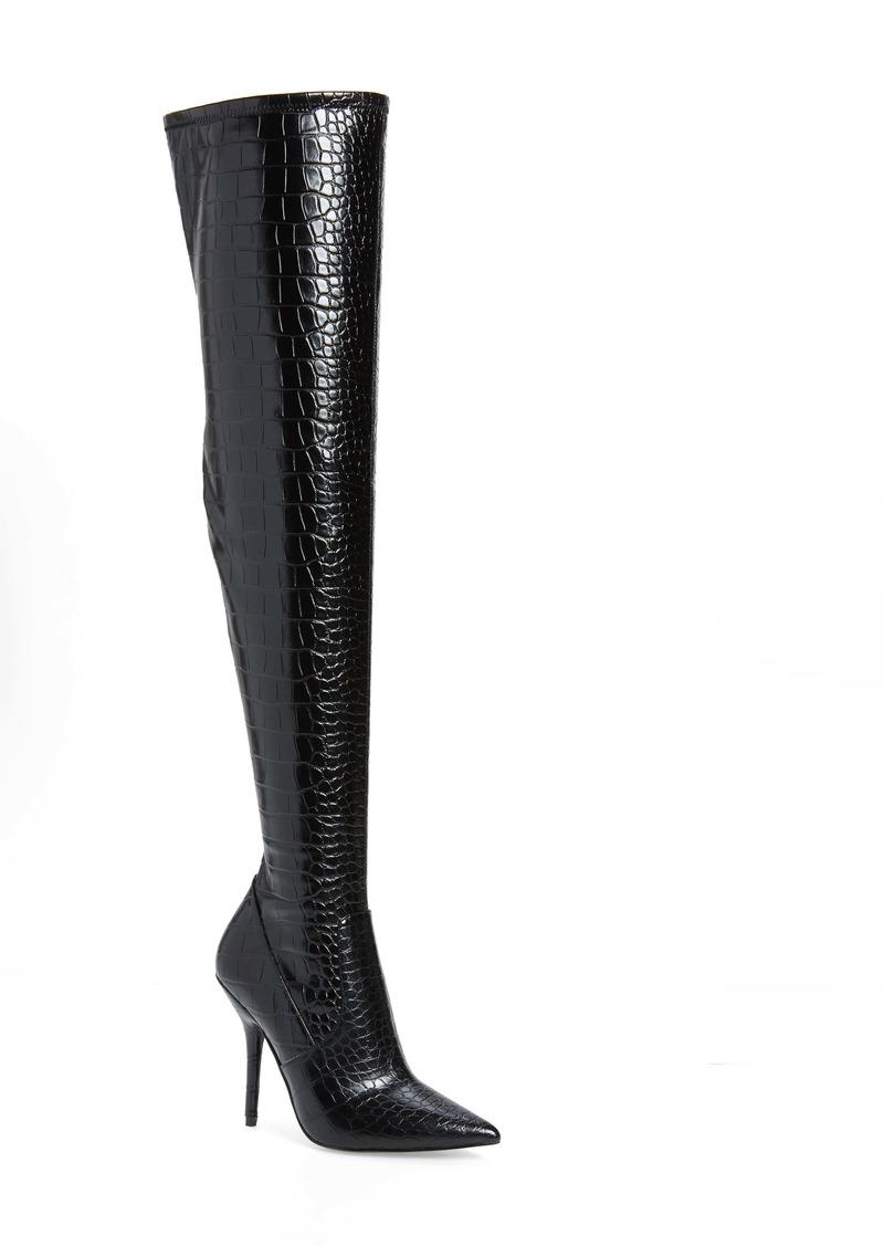 Winnie Harlow x Steve Madden Hera Croc Embossed Over the Knee Boot (Women) (Nordstrom Exclusive)