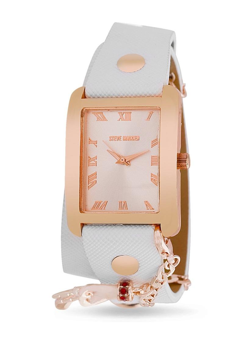 Steve Madden Women's Analog White Leather Watch. 28.2mm