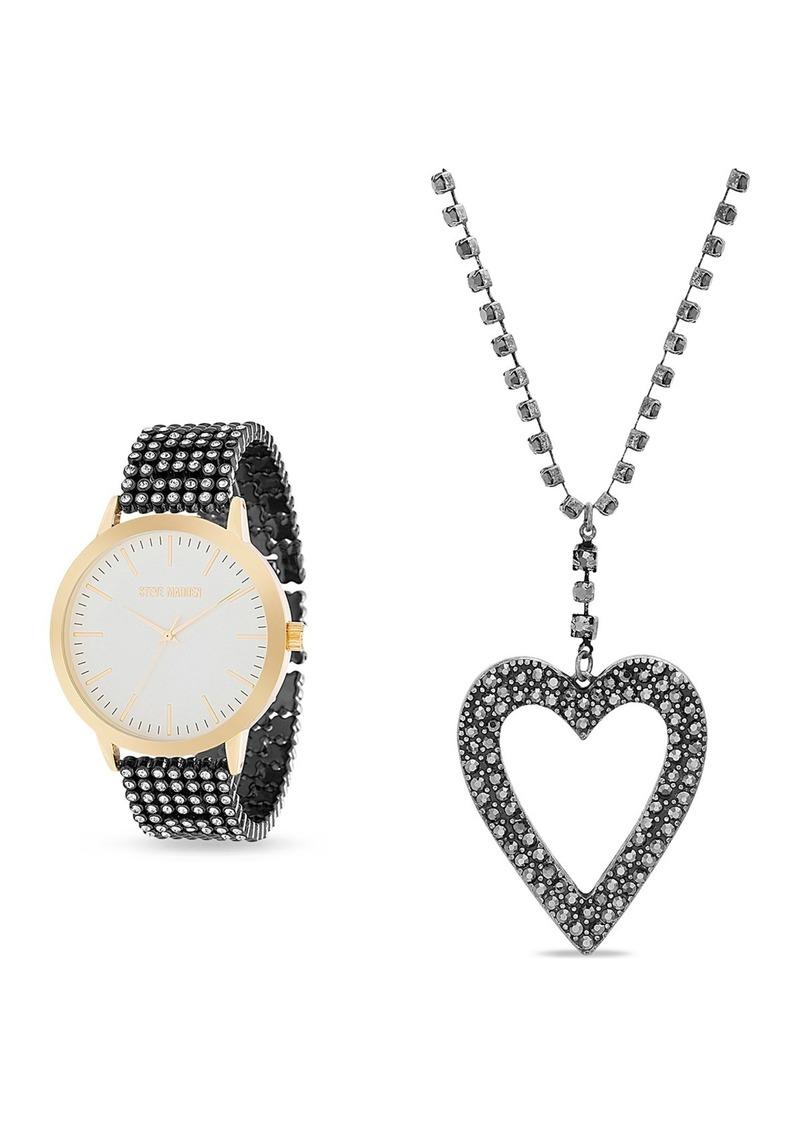 Steve Madden Women's Black Rhinestone Bracelet Watch & Heart Pendant Necklace 2-Piece Set, 42mm