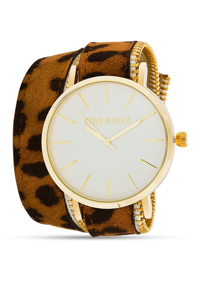 Steve Madden Women's Leopard Leather Zipper Band Watch