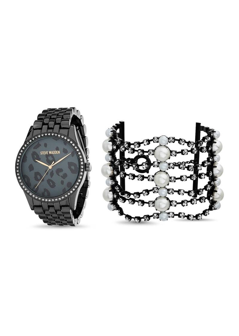 Steve Madden Women's Leopard Print Bracelet Watch & Rhinestone with Pearl Cuff