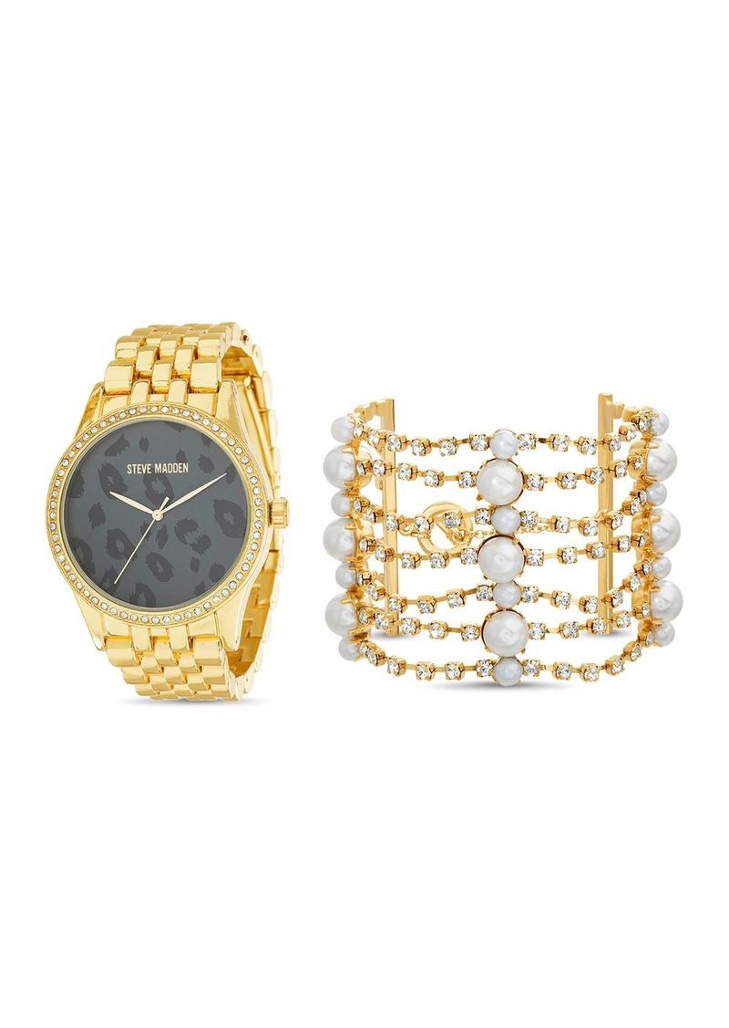 Steve Madden Women's Leopard Print Gold-Tone Bracelet Watch & Rhinestone with Pearl Cuff