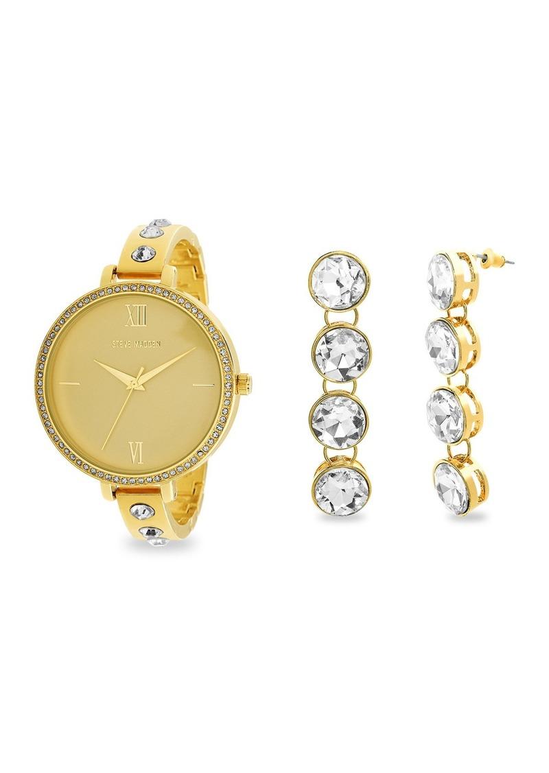 Steve Madden Women's Rhinestone Bracelet Watch & Rhinestone Drop Earrings 2-Piece Set, 42mm