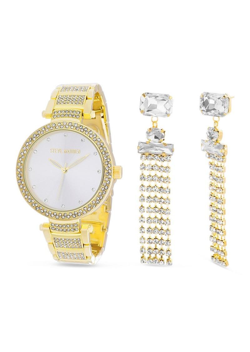 Steve Madden Women's Rhinestone Gold-Tone Bracelet Watch & Rhinestone Drop Earrings 2-Piece Set, 41mm