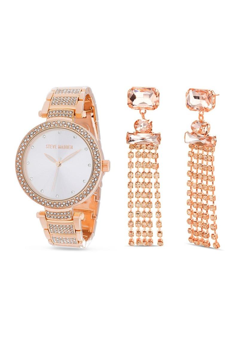 Steve Madden Women's Rhinestone Rose Gold-Tone Bracelet Watch & Rhinestone Drop Earrings 2-Piece Set, 41mm