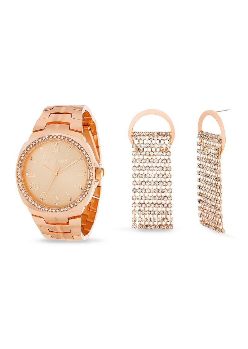 Steve Madden Women's Rose-Gold Bracelet Watch & Rhinestone Drop Earrings 2-Piece Set