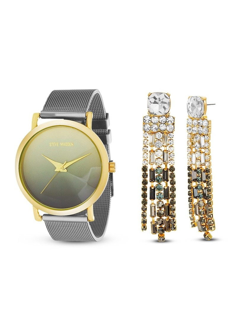 Steve Madden Women's Silver-Tone Mesh Bracelet & Chandelier Earrings