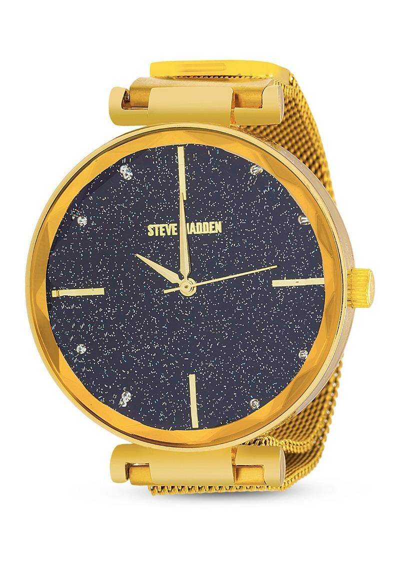Steve Madden Women's Speckled Dial Gold-Tone Mesh Watch
