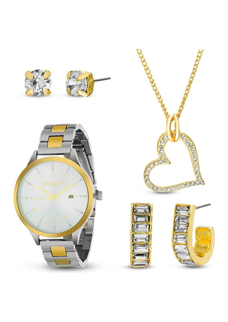 Steve Madden Women's Two-Tone Bracelet Watch, Heart Pendant, & Earrings 4-Piece Set