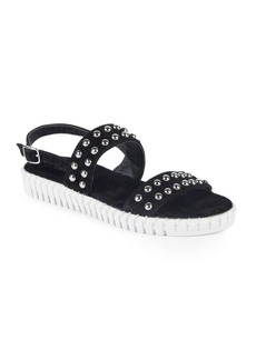 Steven by Steve Madden Leather Studded Flat Sandals