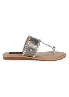 Steven by Steve Madden Mykonos Snake-Print Leather Toe-Strap Slides