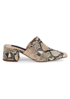 Steven by Steve Madden Snakeskin Print Block-Heel Leather Mules