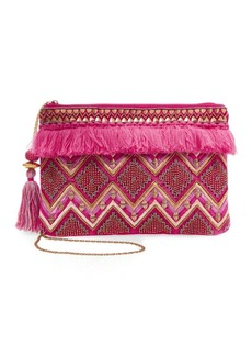 Steven by Steve Madden Jsuzanna Fringe-Trim Beaded Clutch
