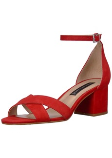 STEVEN by Steve Madden Women's Ilka Heeled Sandal red Nubuck