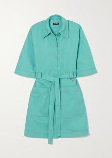 Stine Goya Net Sustain Carli Belted Cotton-twill Mini Shirt Dress