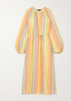 Stine Goya Elia Belted Striped Crepe Midi Dress